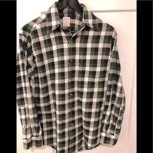 Brooks brothers long sleeve plaid green flannel